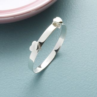 Sterling Silver Baby & Children Hearts Expandable ID Bangle With Optional Engraving
