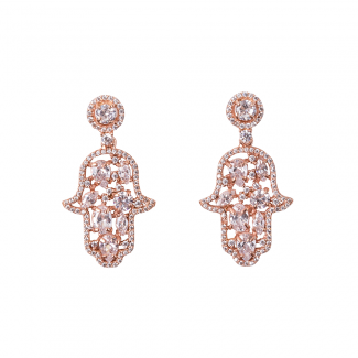 Rose Gold Plated Hamsa Earrings With White CZ Stones