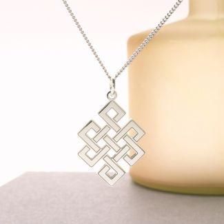 9ct White Gold Celtic Trinity Pendant & Optional Chain