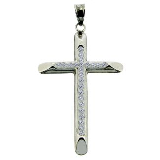 9ct White Gold Plated on Sterling Silver CZ Set Cross Pendant