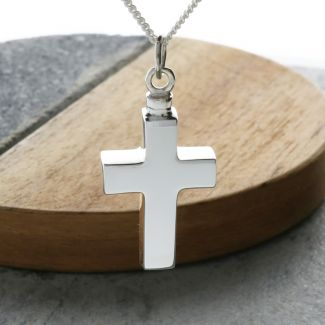 Sterling Silver Cross Urn Cremation Ashes Pendant With Optional Engraving & Chain