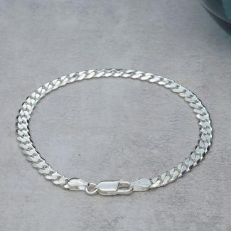 Sterling Silver 4.5mm Gents Curb Bracelet