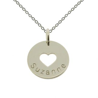 Sterling Silver Cut Out Heart & Engraved Name Disc Pendant