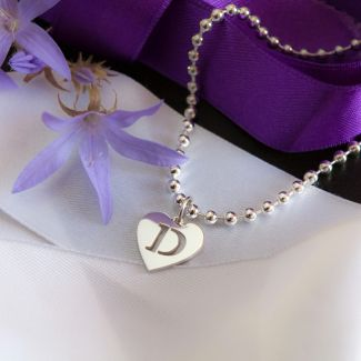 Sterling Silver Bead Ball BraceletWith Initial Heart Charm