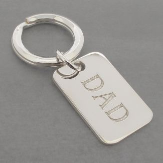 Sterling Silver Dad Rectangle Keyring With Optional Engraving