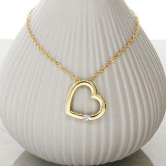 9ct Yellow Gold Diamond Set Heart Pendant With Chain