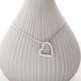 9ct White Gold Full Diamond Set Heart Pendant Necklace
