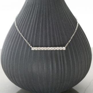 9ct White Gold Diamond Set Bar Necklace