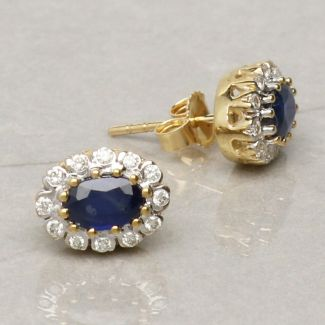 9ct Yellow Gold 0.9ct Oval Sapphire & Diamond Cluster Earrings