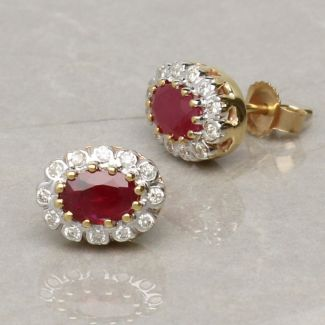 9ct Yellow Gold 1.2ct Oval Ruby  & Diamond Cluster Earrings