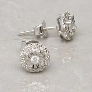9ct White Gold 0.13ct Diamond Stud Earrings
