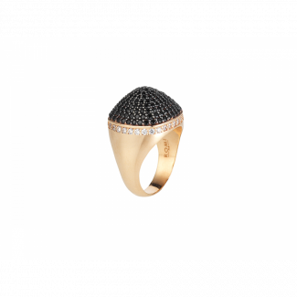 Rose Gold Plated Dome Cocktail Ring With Black & White Pave CZ Stones
