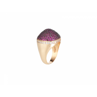 Rose Gold Plated Dome Cocktail Ring With Red & White Pave CZ Stones
