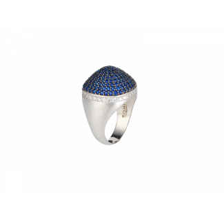 Sterling Silver Dome Cocktail Ring With Blue & White Pave CZ Stones