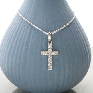 9ct White Gold Diamond Set Cross Pendant With Optional Chain