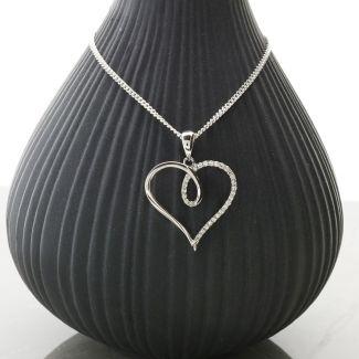 9ct White Gold Diamond Set Heart Pendant & Optional Chain