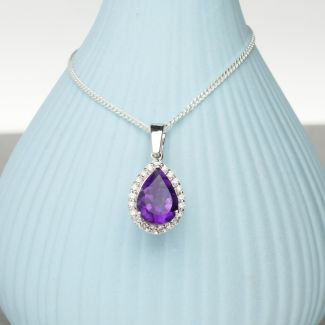 Teardrop Amethyst Pendant Set In 9ct White Gold & Diamonds With Optional Chain