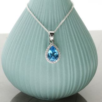 Teardrop Blue Topaz Pendant Set In 9ct White Gold & Diamonds With Optional Chain