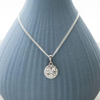 Round Diamond Pendant Set In 9ct White Gold & Optional Chain