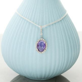 Oval Amethyst Pendant Set In 9ct White Gold & Diamonds With Optional Chain