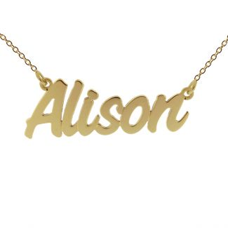 14k Solid Gold Challenge Style Name Necklace