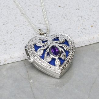 Sterling Silver Heart Locket Set With CZ  & Amethyst With Optional Engraving