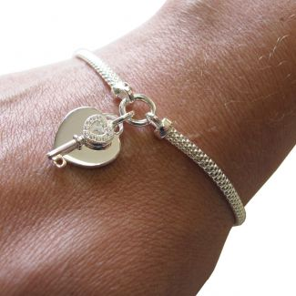 Sterling Silver Ladies Heart With CZ Key Bracelet With Optional Engraving