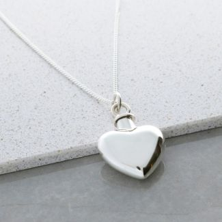 Sterling Silver Heart Urn Cremation Ashes Pendant With Optional Engraving & Chain