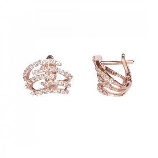 Rose Gold Plated CZ Huggie Earrings