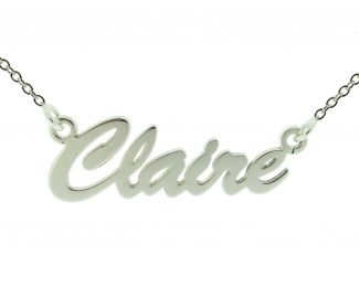 9ct White Gold Script Style Personalised Name Necklace