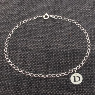 Sterling Silver Curb Anklet With Initial Disc Charm