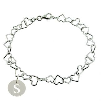 Sterling Silver Light Heart Charm Anklet With Initial Disc Charm