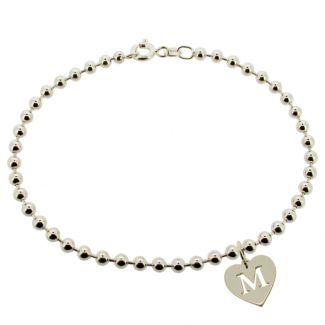 Sterling Silver Bead Ball Anklet With Initial Heart Charm