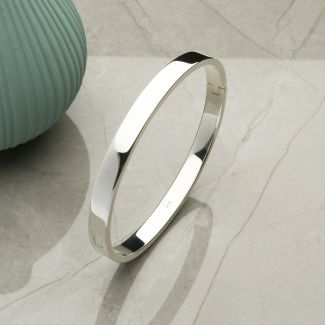 Sterling Silver Ladies Round Bangle With Optional Front Engraving