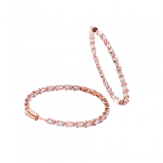 Rose Gold Plated Large Hoop Earrings With White CZ Stones