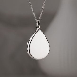 Sterling Silver Tear Drop Locket With Optional Engraving
