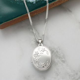 Sterling Silver Flower Pattern Oval Locket with Optional Engraving and Chain