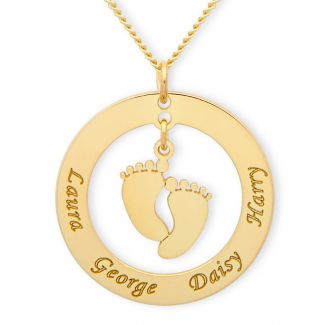 9ct Yellow Gold Plated Family Necklace With Hanging Baby Feet