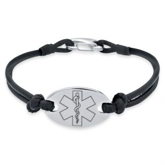 Ladies Leather and Stainless Steel Medical Bracelet On Black Leather Bracelet
