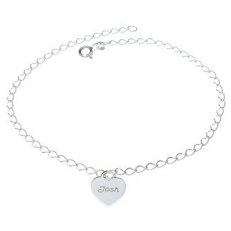 Sterling Silver Mini Personalised Hearts Bracelet