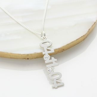Sterling Silver Special Date CZ Set Pendant With Optional Chain