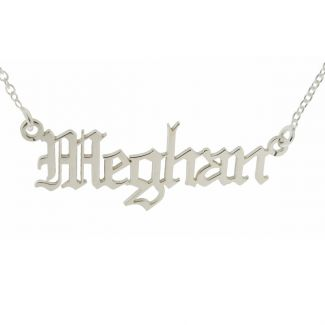 Sterling Silver Gothic Old English Name Necklace
