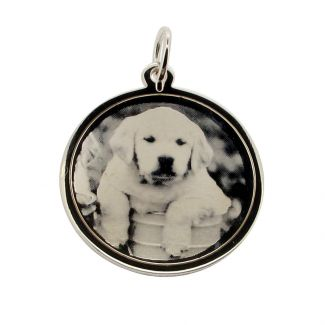 9ct White Gold 24mm Round Photo Engraved Disc Pendant