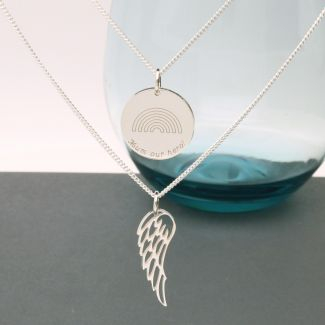 Sterling Silver Engraved Layered Rainbow Disc & Angel Wing Pendant