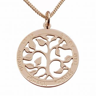 9ct Rose Gold Filigree Tree of Life Disc Personalised Family Necklace