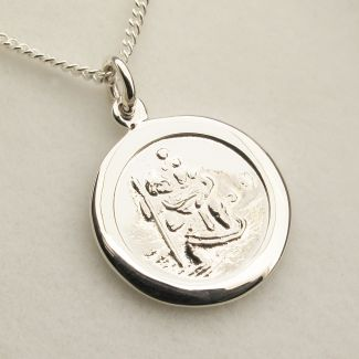 Sterling Silver 16mm Flat Edge St Christopher Pendant With Optional Personalisation and Chain