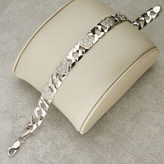Sterling Silver 8mm Ladies CZ Set Heart Flat Curb Bracelet