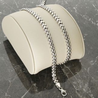 """Sterling Silver 4.8mm Panther Link Chain 17"""" inch"""