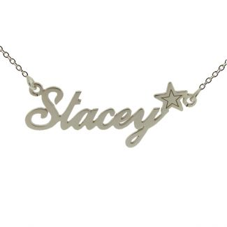 Sterling Silver Carrie Style Personalised Name Necklace with Star
