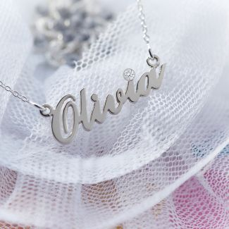 Sterling Silver Carrie Style Personalised Name Necklace With Swarovski Crystal (Sex & The City)